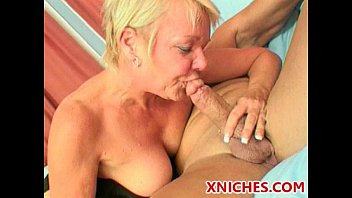 Cock-hungry blonde old lady enjoys double fuck